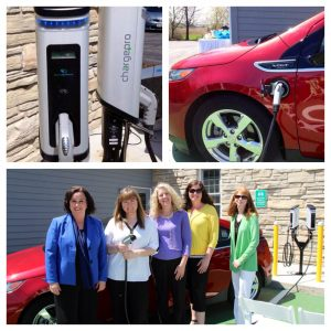 Travel Green car charging station at the Bay Breeze Resort
